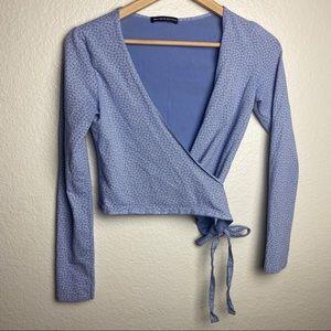 Brandy Melville Blue Floral Long Sleeve Wrap Top